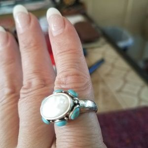 Jewelry - Turquoise and abalone Stone sterling silver ring